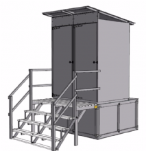 Latrine kit, raised, with two cubicles - 6 pce